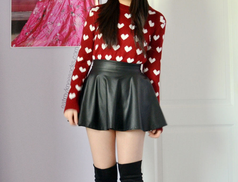 More outfit photos of the ulzzang-style red heart sweater from Sweetbox Store.