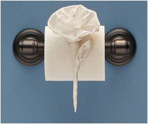 Bathroom decoration with paper tissue origami