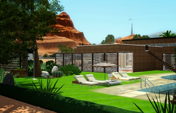 [LIVING DESIGN] WOODEN BOX HOUSE THE SIMS 3 pool side