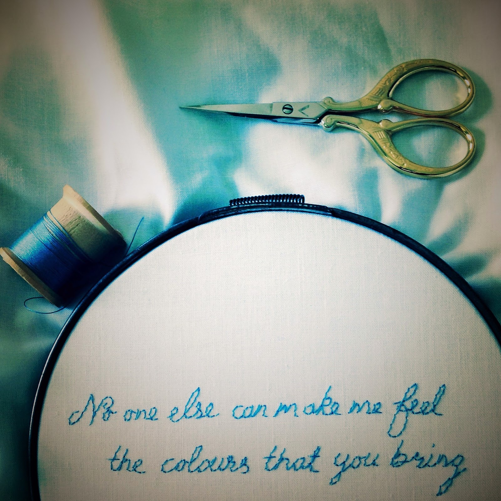 embroidered lyrics noone else can make me feel the colours that you bring