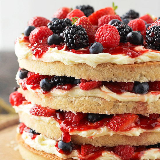 My Favorite Things: Vanilla Cake with Buttercream, Berries, and Jam
