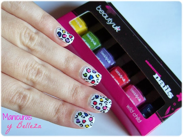 manicura nail art animal print leopard colours white uñas leopardo estampado nails beautyuk wild child pack multicolor reto colores esmalte astra nail polish