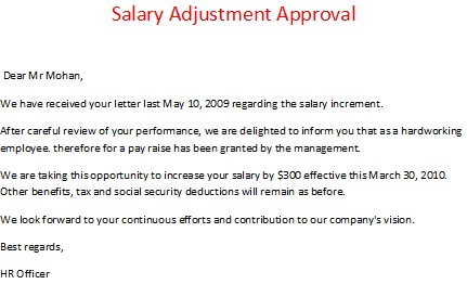 salary adjustment approval sample salary adjustment request adjustment of salary
