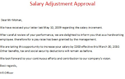 salary adjustment approval sample, salary adjustment request, adjustment of salary