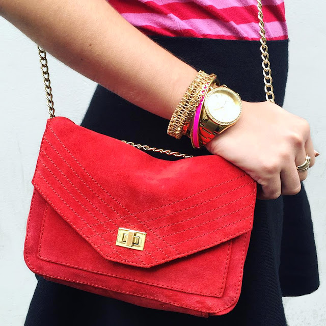 Gold Timex Miami Watch and red suede Petite Mendigote handbag - London fashion blogger Emma Louise Layla