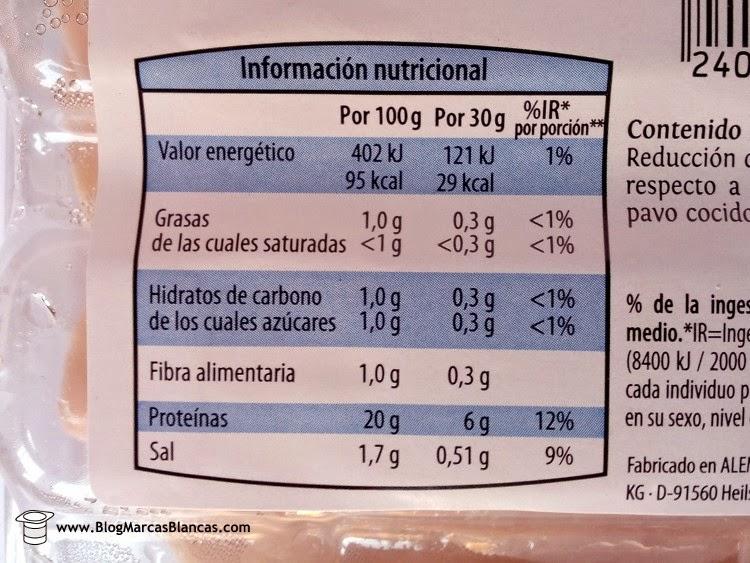 Información nutricional de la Pechuga de pavo cocida en finas lonchas con contenido reducido en sal Delicato de Aldi.