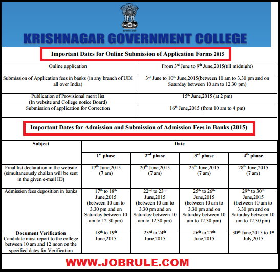 Krishnagar Government College-KGC Online Admission Advertisement Session 2015-2016 1st Years Hons/General Courses