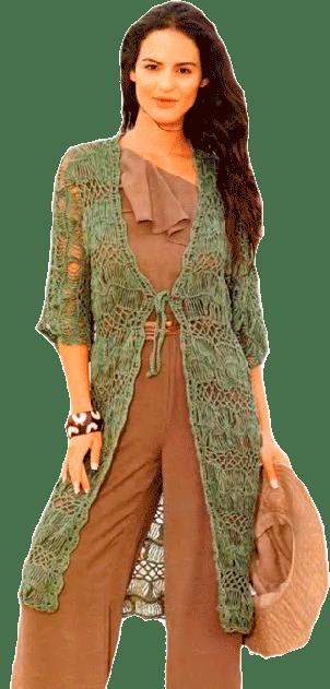 зеленый ажурный кардиган