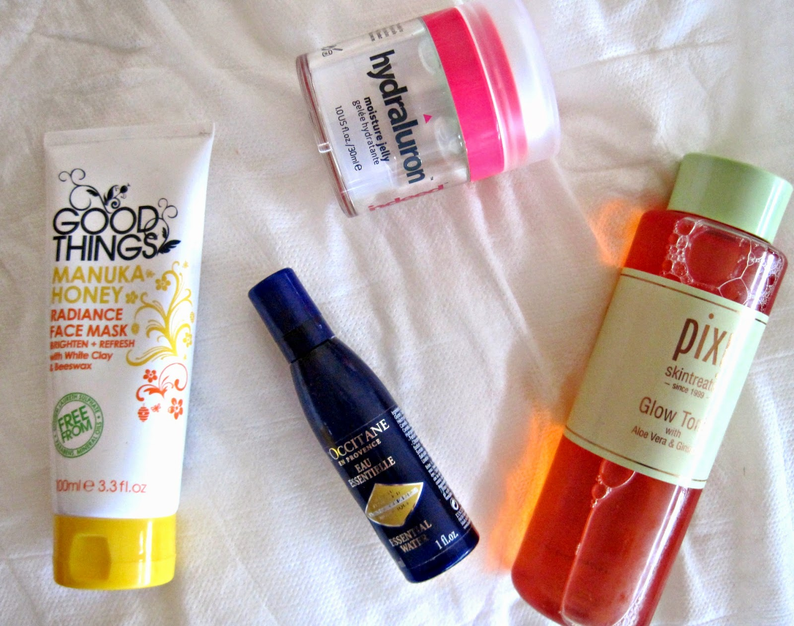 pixi glow tonic hydraluron mousture jelly l'occitane immortelle essential water good things manuka honey mask review swatch