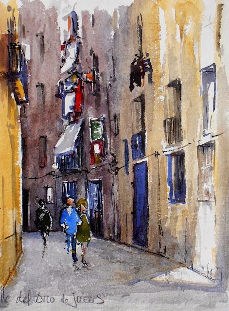 Joshemari larra aga acuarelas callejuelas en el casco - Casco antiguo de barcelona ...