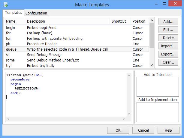 macro templates