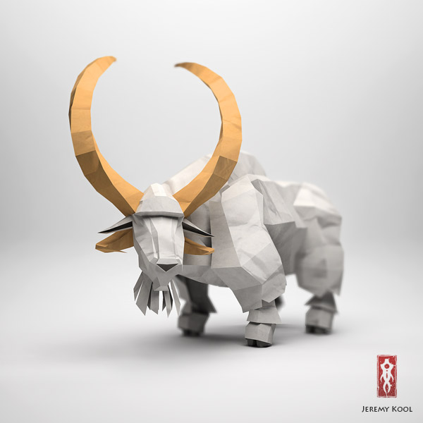 Paper Fox Project | 3D CGI Papercraft White Goat Character With Beard And Tall Horns