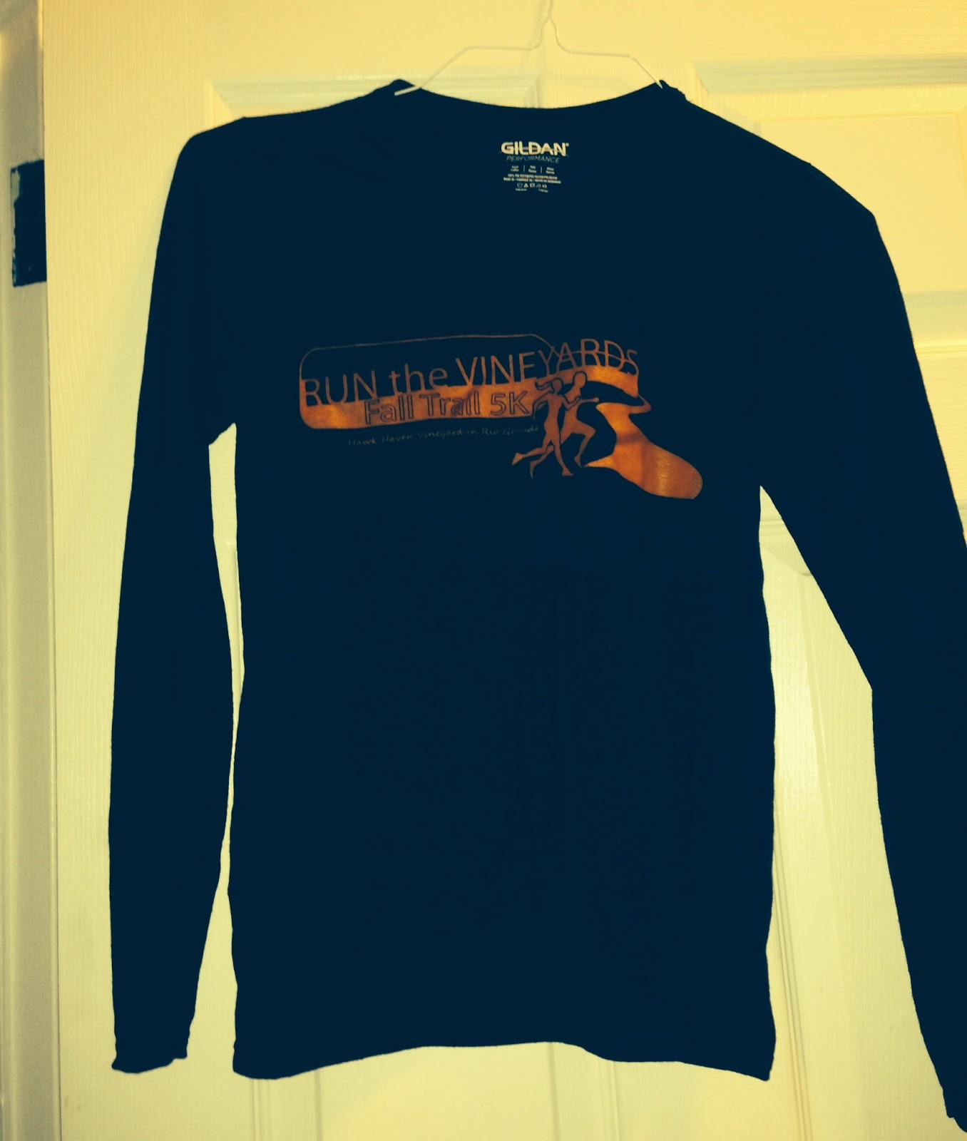 run the vineyards 5k tech shirt