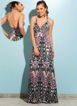 modelo de vestido frente única com estampa étnica