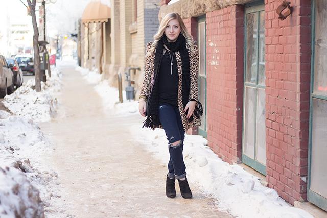 Leopard print coat // Winter outfit inspiration via Pretty Little Details