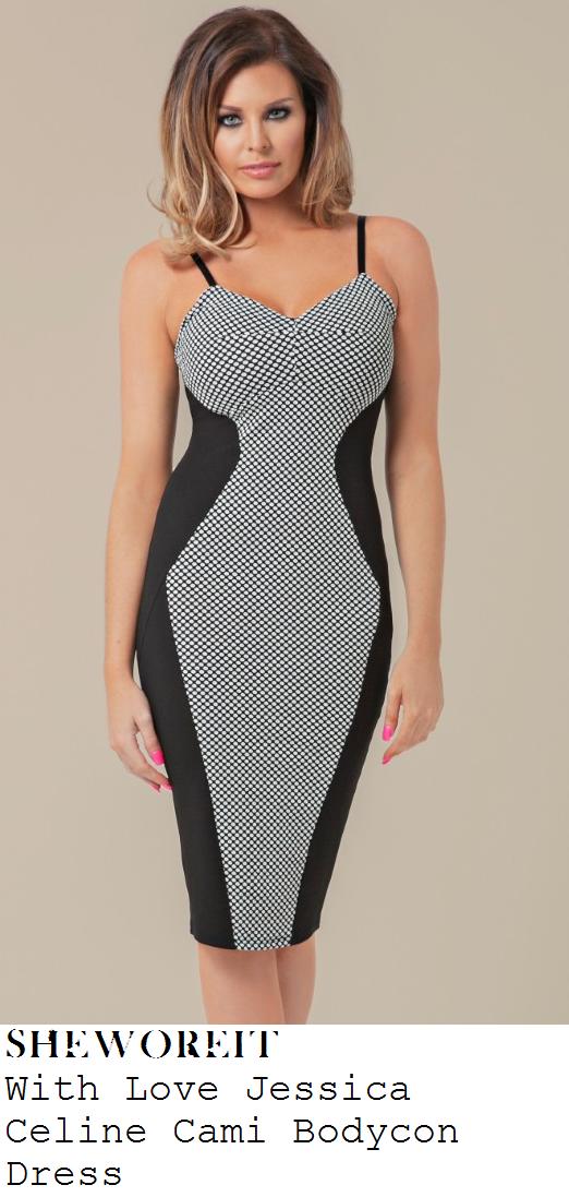jessica-wright-black-and-white-monochrome-geometric-criss-cross-print-optical-illusion-panel-bodycon-dress