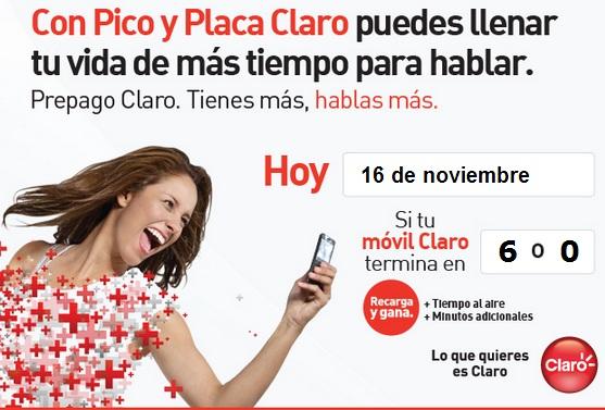 pico y placa claro colombia hoy Viernes 16 de noviembre 2012 hoy es