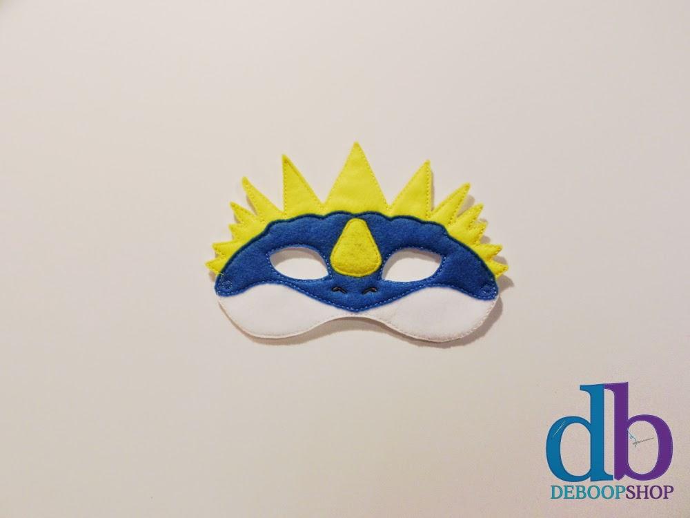 Blue Spiked Dragon Felt Embroidered Mask from DeBoop Shop