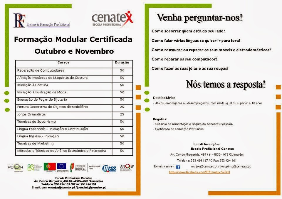 Formação modular gratuita em Guimarães (Outubro / Novembro 2013)