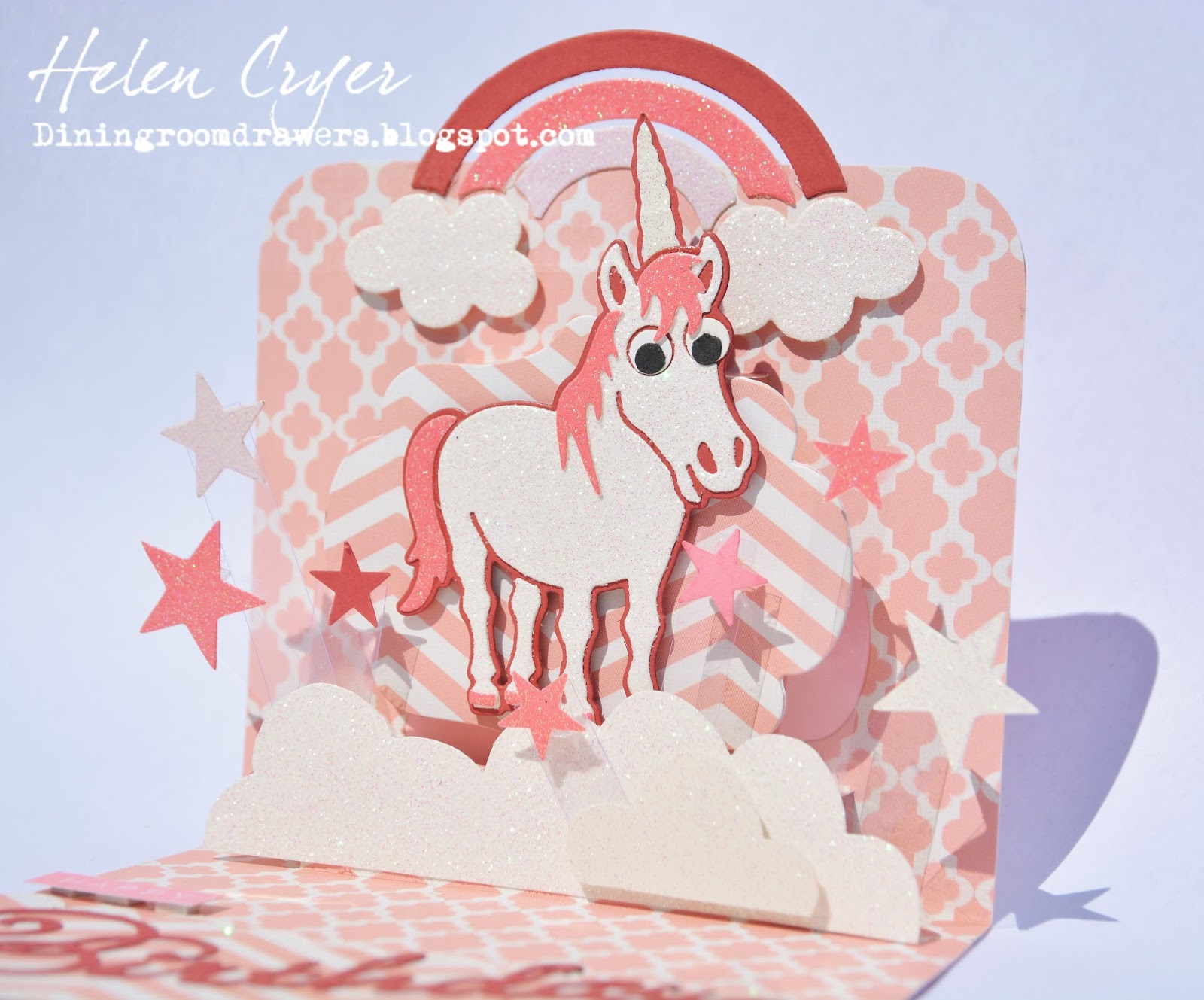 the dining room drawers pop it ups 'cocoa the horse' unicorn, Birthday card