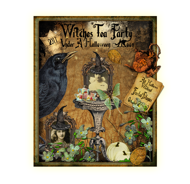 Witches Tea Party Under A Halloween Moon