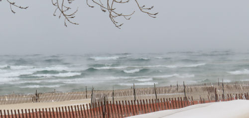 Lake Michigan winter waves