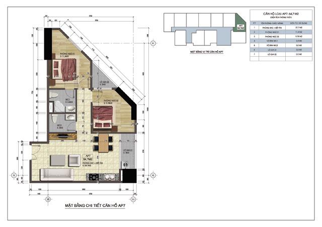 Mặt bằng thiết kế căn hộ 219 Trung Kính