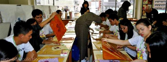 Yuzen stencil dyeing process