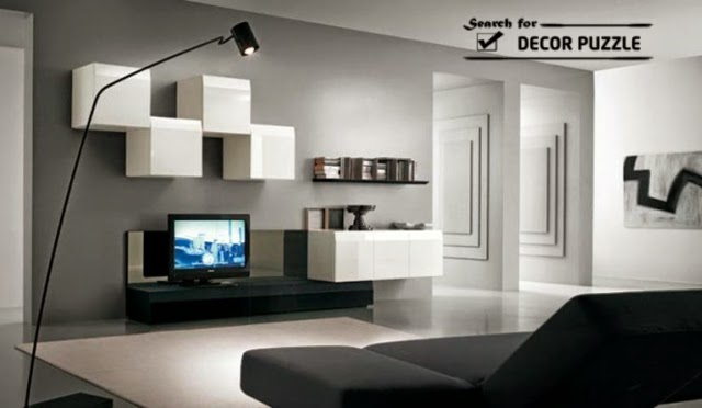 20 modern tv wall units for unique living room designs for Wall mounted tv cabinet design ideas