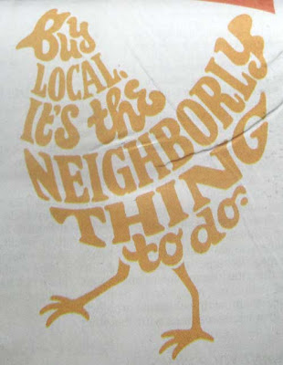 Hen made out of the words Buy local. It's the neighborly thing to do.