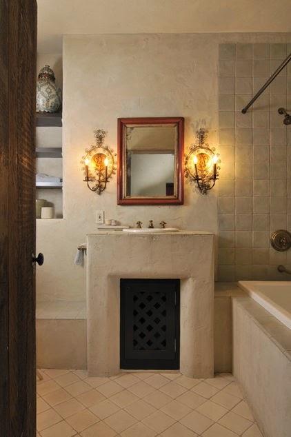rustic stone master bath room