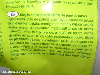 Ingredientes de los ñoquis de patata Danieli de Lidl