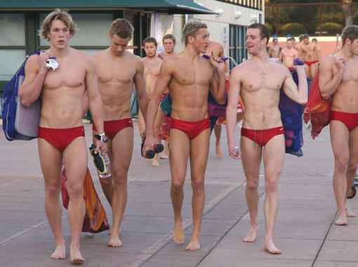 Members of the swimming team from Stanford University