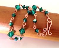 All handmade by me Emerald Swarovski Crystal Link Bracelet