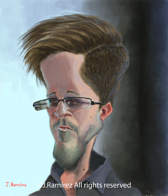Edward Snowden caricature illustration