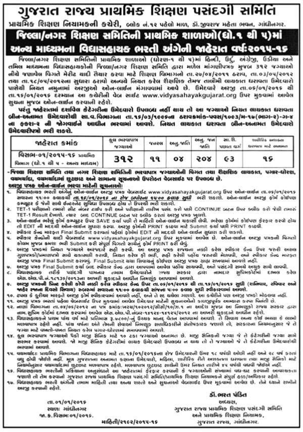 Vidhyasahayak Bharti (Std. 1 to 5) 2015-16