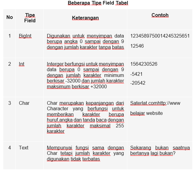Pengertian Database, Pengertian, Database,field, int, char,