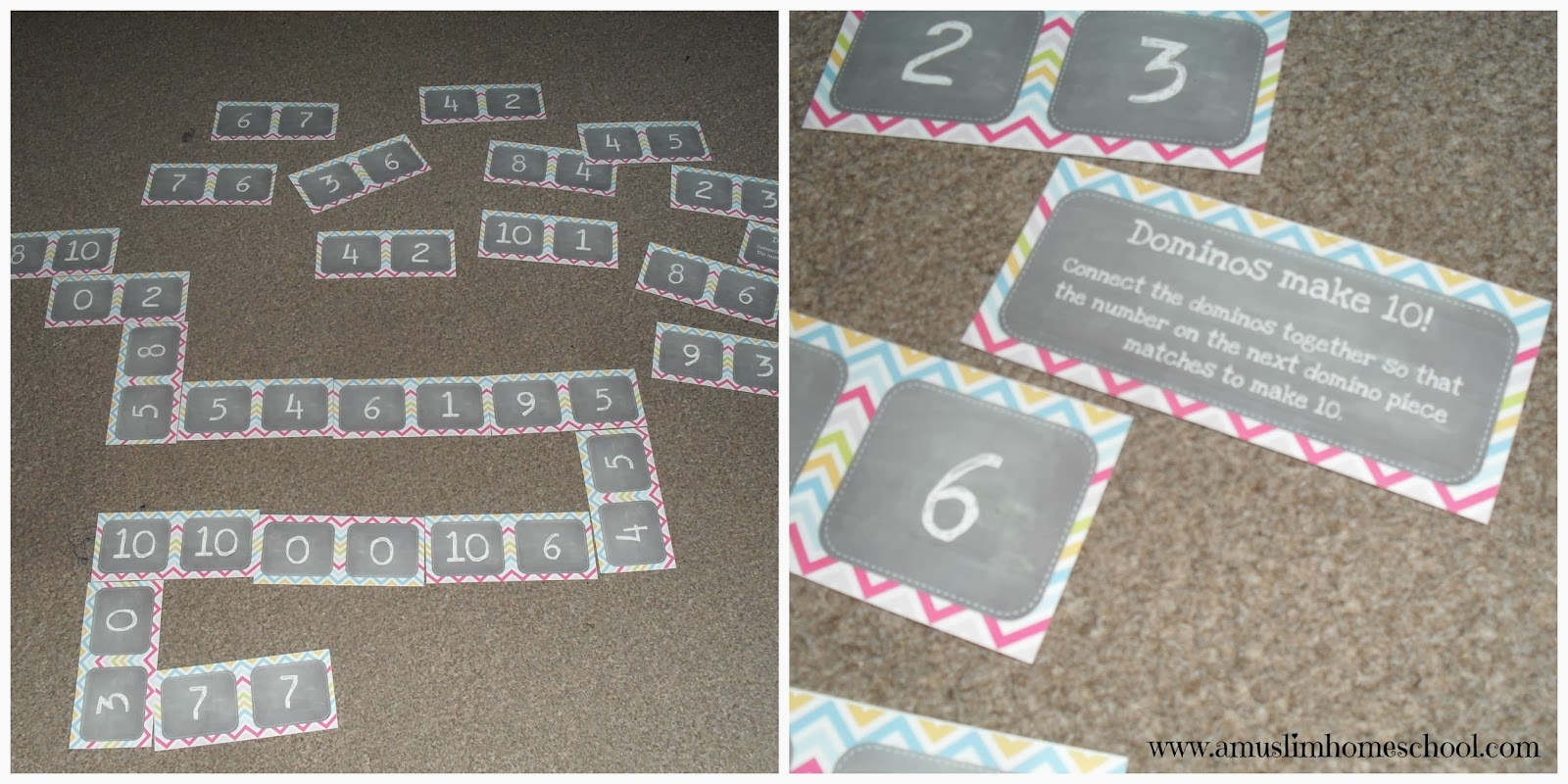 number bonds to 10 printable dominos game