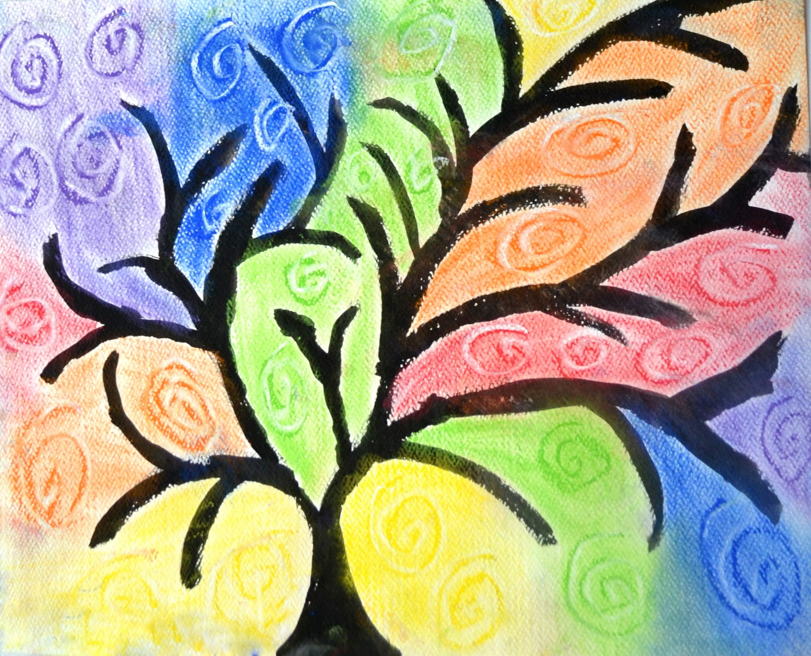 Swirl Color Tree   Art Class Ideas