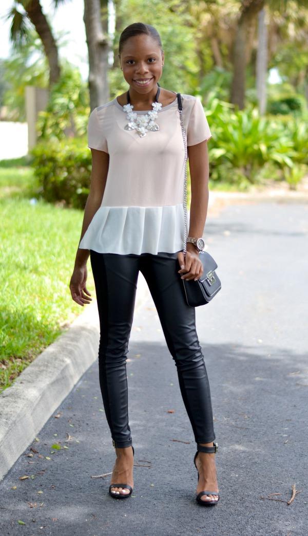 Peplum Blouse | Vegan Leather Leggings | Fall Outfit Ideas