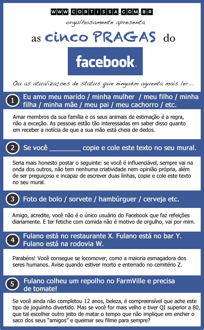 As cinco pragas do Facebook