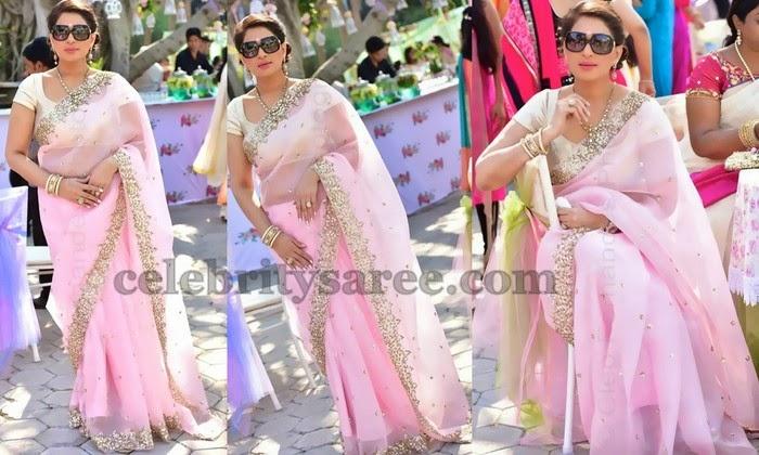 Shreedevi Chowdary Pink Organza sari