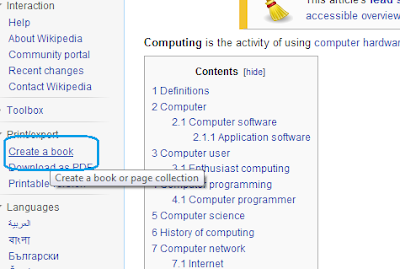 Create Book option from Wikipedia: Intelligent Computing