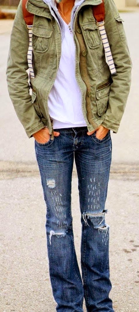 Military Jacket,Distressed Denim And Hooded Sweatshirt