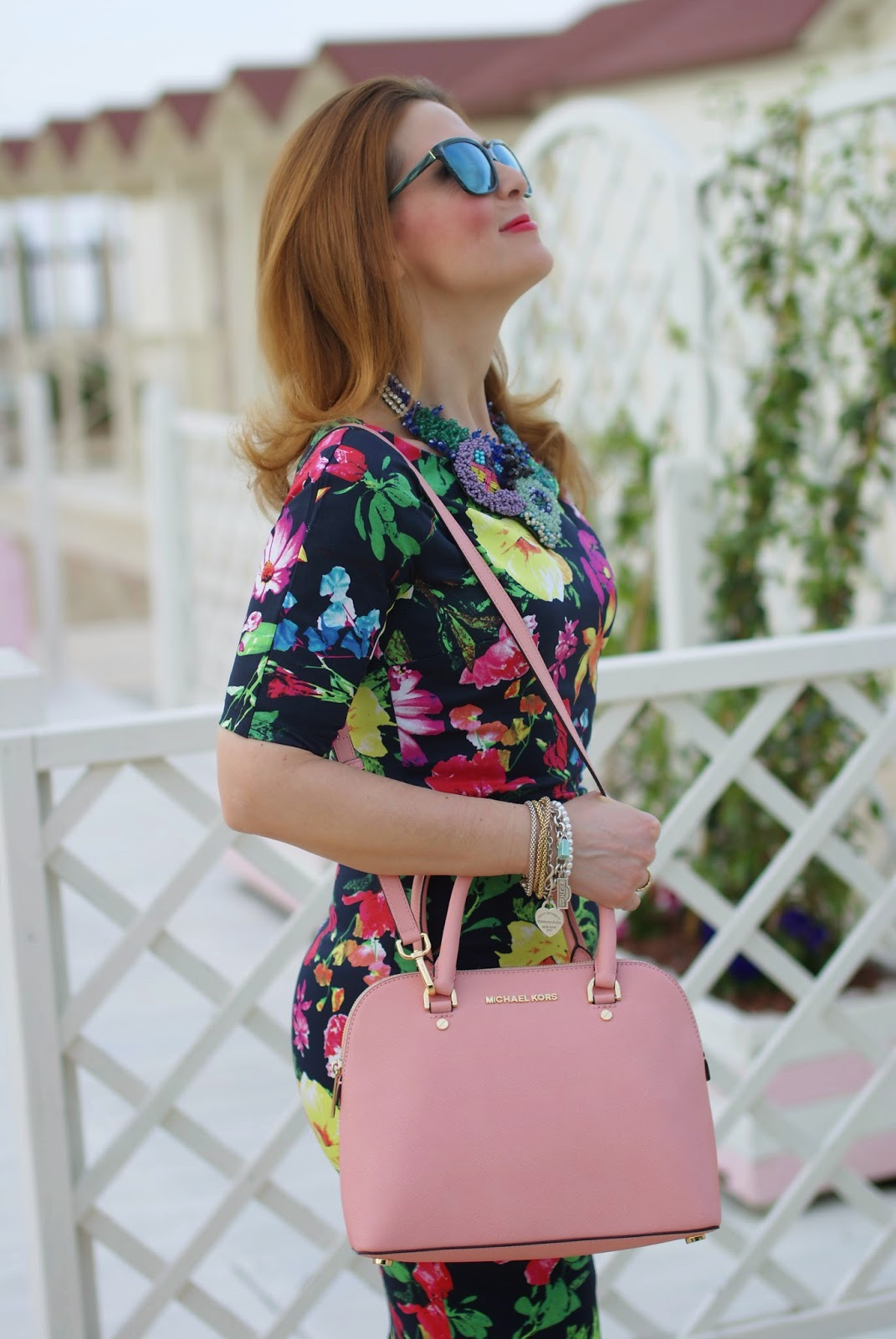 Ax Paris floral midi dress, pink crossbody bag, Michael Kors Cindy pink bag, HypeGlass sunglasses on Fashion and Cookies fashion blog, fashion blogger style
