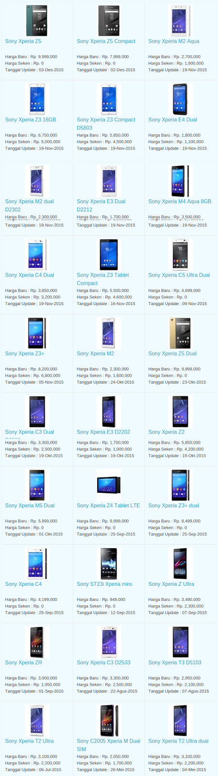Daftar Harga Hp Sony Desember 2015