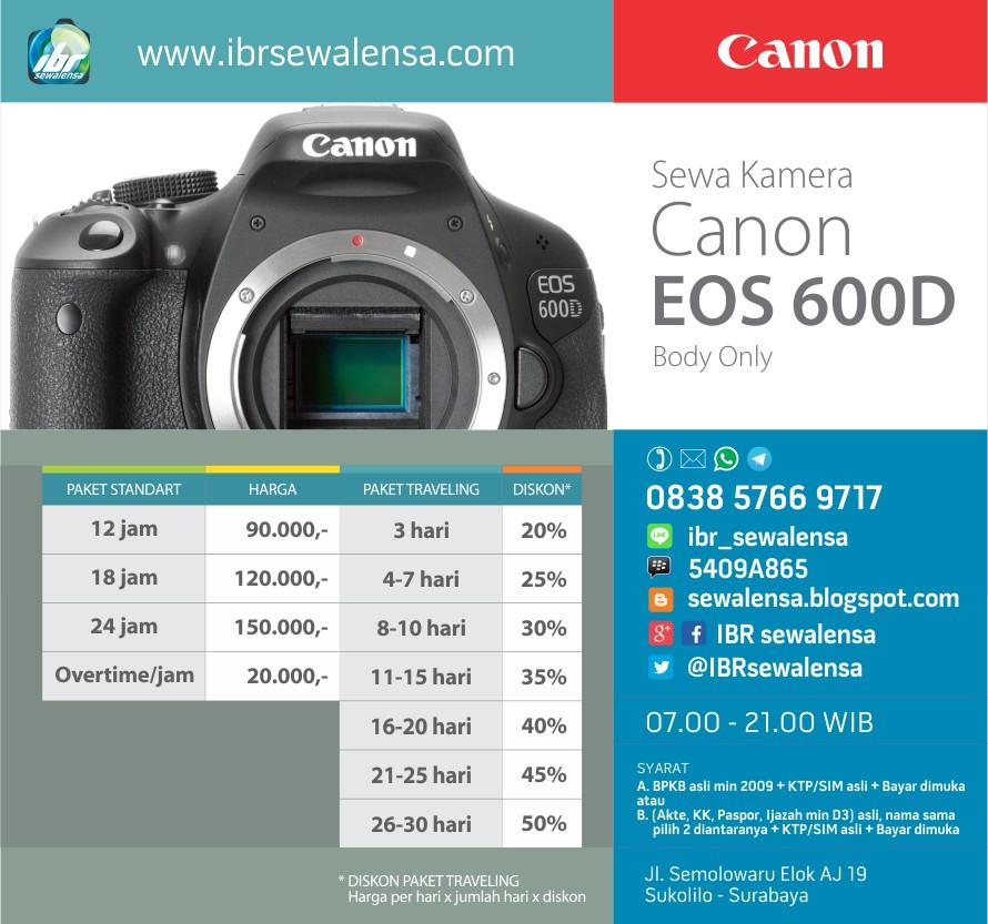 Harga sewa kamera Canon 600D Body Only