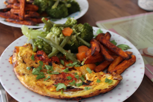 duck egg omelette with sweet potato fries and veg