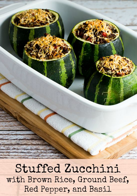Stuffed Zucchini Recipe with Brown Rice, Ground Beef, Red Pepper, and Basil, with Variations found on KalynsKitchen.com