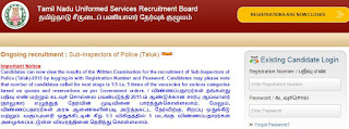 1078 SI Recruitments WRITTEN EXAM RESULTS published on  18.07.2015 http://tnusrbexams.net/